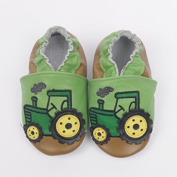 22f9facdb Новые детские кожаные туфли мальчик милый Трактор Автомобиль обувь мягкой  подошвой мальчик мультфильм обувь Todder Впервые