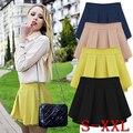 2015 moda sexy cintura alta curta camisa feminino colore doces chiffon plissado plus size mulheres shorts culottes calças hotpants