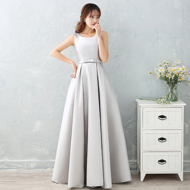 #Luxury Sliver Satin Long #Evening #Dresses #Prom Robe #Party #Gown #girl #grl #boygrl #fashion 1