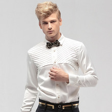 Fanzhuan Free Shipping New Male men's fashion casual long sleeve personality Western style White Shirt Dress Groom Wedding 14272