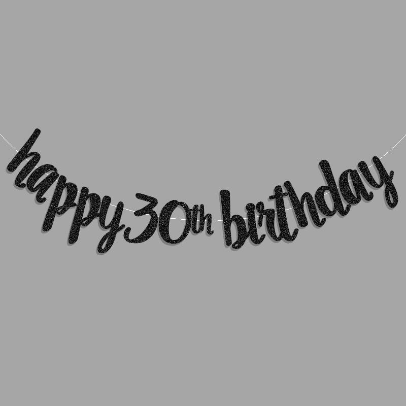 2017 Popular Gold Black Silver Glitter Happy 30th Birthday Banner