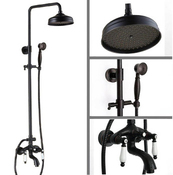 Black Oil Rubbed Brass Wall Mounted Two Ceramic Handles Bathroom Rain & Hand Shower & Tub Faucet Set Mixer Tap ars043 wall mounted polished chrome round rain shower faucet tub mixer tap dual cross handles hand held shower head acy351
