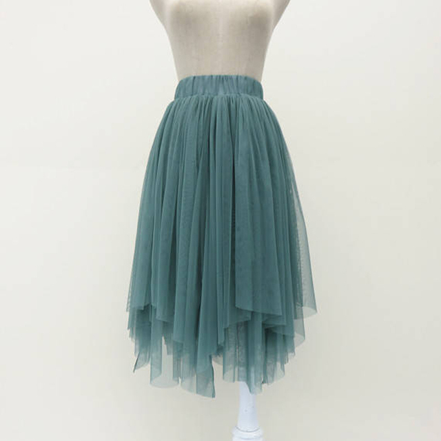 b758a460fb3 Summer Women Soft Tulle Skirt Fashion Irregular Pale Turquoise Midi Skirt  Short Lady Tutu Skirt Custom Made Jupe Femme