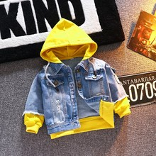 Boy Fashion Hooded Denim Jacket Patchworking Coat Spring Autumn Clothes