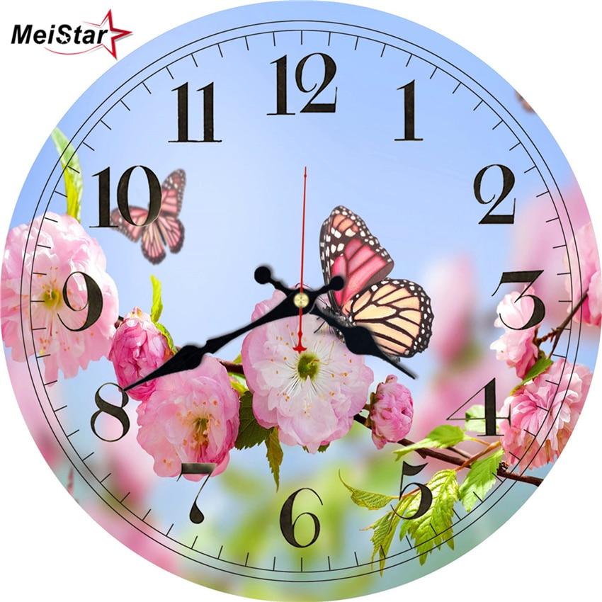 MEISTAR 3 Patterns Vintage Round Clock Butterfly  Design  Hanging Clocks In Home & Garden Kitchen Watches Large Art Wall Clocks