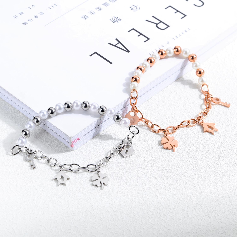 Japanse en Koreaanse Rose Gouden Armband Meisjes Eenvoudige Persoonlijkheid Liefde Sleutel Meisjes Luxe Sieraden Geschenken - 6