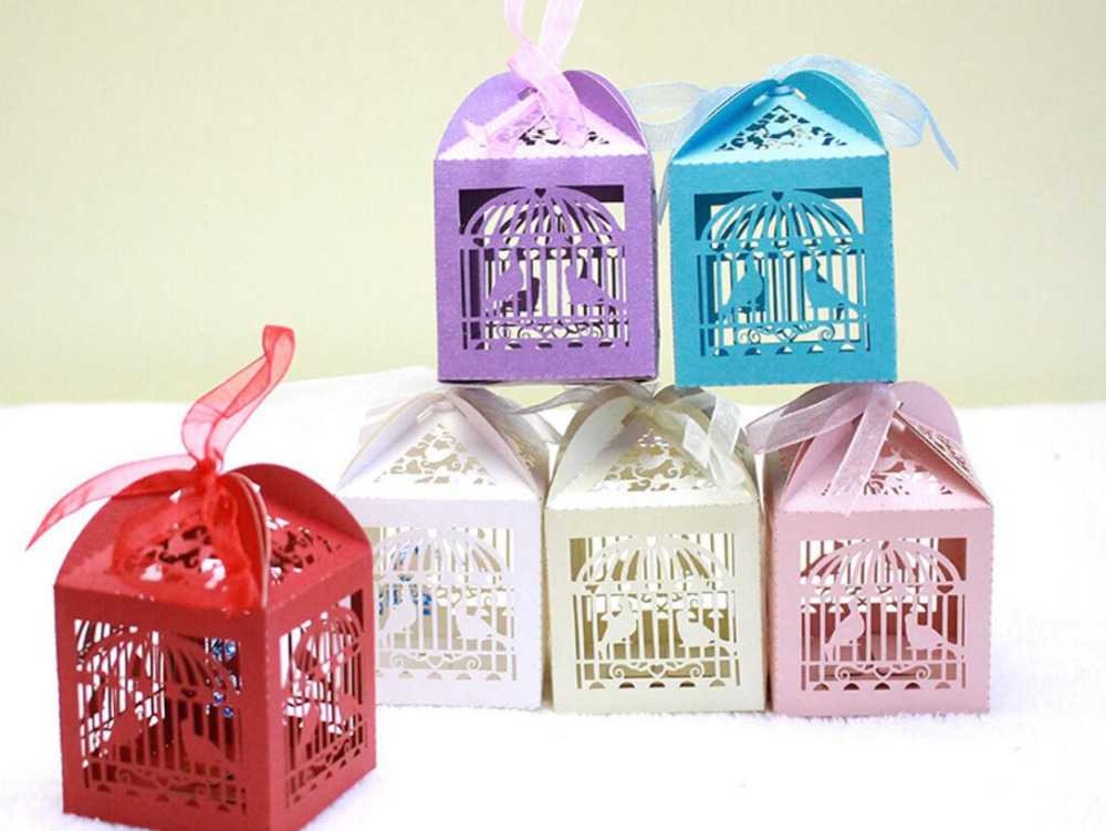 creative bird sing in cage spring come carved candy bag new marriage charm Shower Favor Boxes Wedding Party Gift hold bag