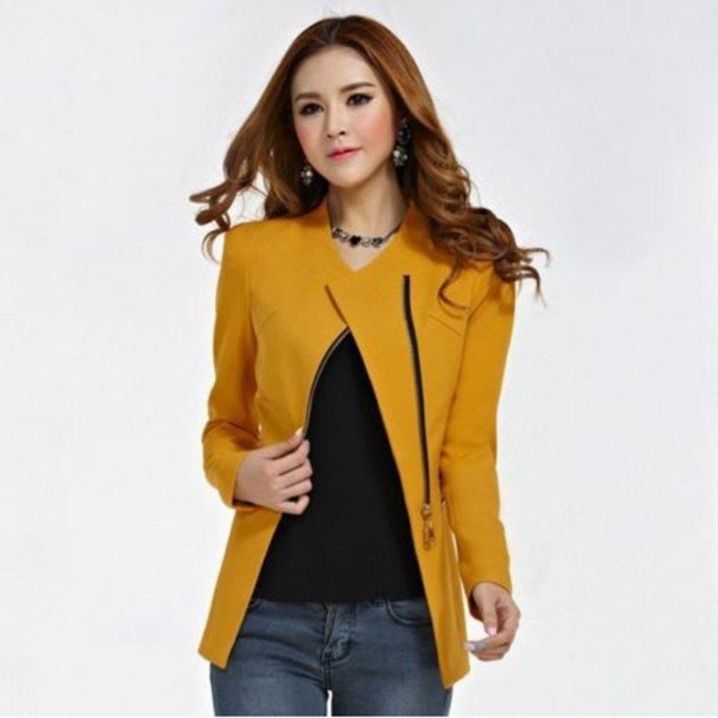 Female Fashion Zipper Suit Women Long Sleeve Coat Solid Suit Jacket Blazer Tops