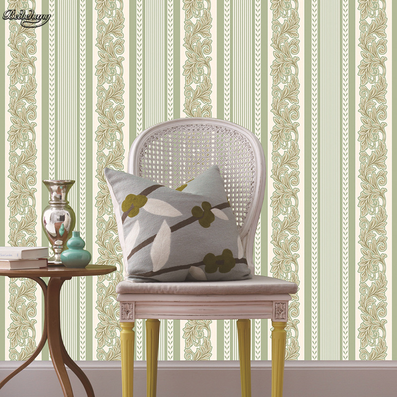 Unique Bedroom Wallpaper Warm Green Bedroom Colors Boys Bedroom Furniture Feng Shui Bedroom Bed Position: Beibehang TH88102 Vertical Line Waist Green Wallpaper Non