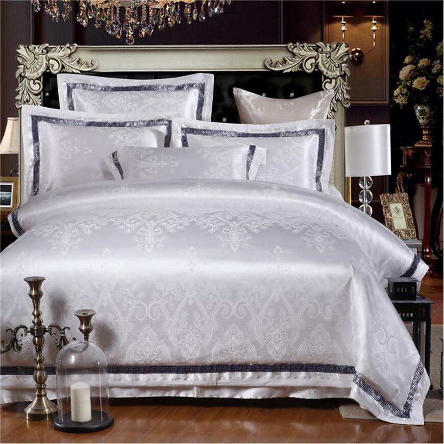 Bílé žakárové hedvábné bavlněné povlečení King Queen Size Luxury Satin Bed Set Vyšívané povlečení Povlečení Povlak na polštář