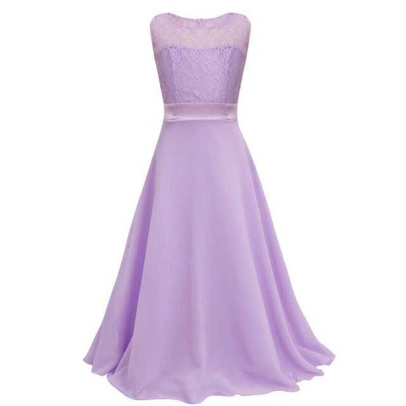 Summer Girls Dress Chiffon Sleeveless Infant Long Dress O Neck Girl Wedding Dresses Lace Kids Party Clothes Children Clothing (5)