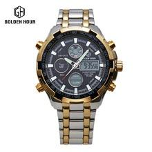 Последние мужская Мода Золото полная Сталь Платье Кварцевые Часы Светящиеся Стрелки Многофункциональный Наручные Часы dz часы для мужчин