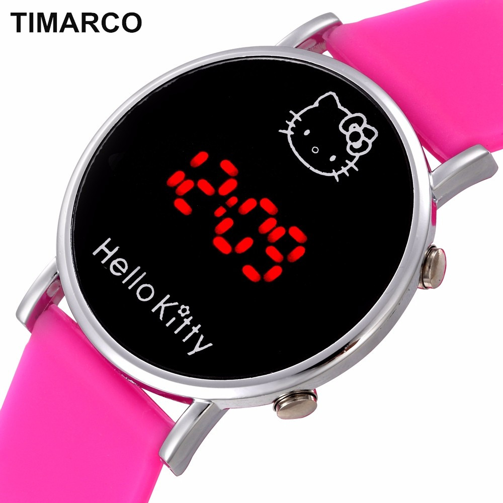 Baby Clock Cat Hello Kitty Watches Girl Lovely Cartoon Watch Kids Watch Children Cute Silicone Wrist Led Display Boys 2018 Reloj