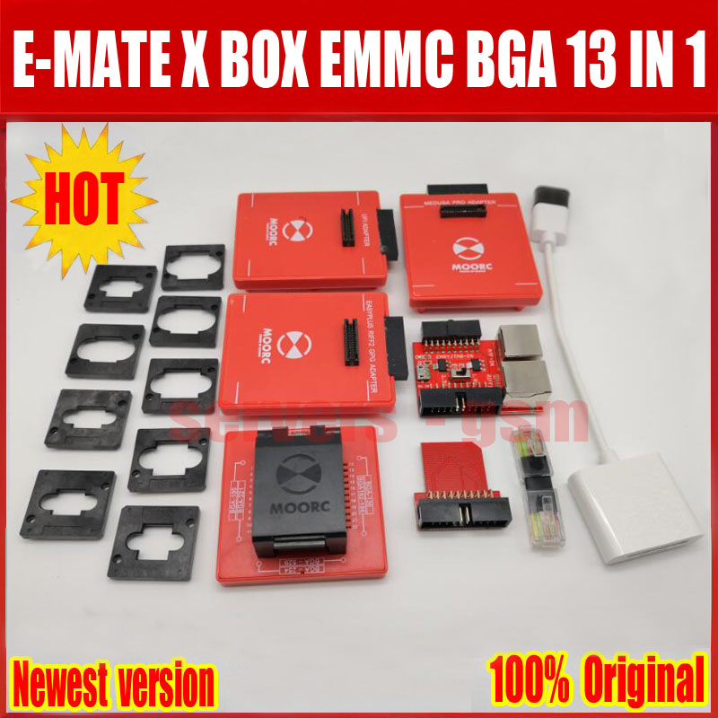 100% Original  E-mate box E-MATE PRO EMMC TOOL all in 1 support BGA -153/169, BGA -162/186, BGA -529, BGA -221 Free ship otomatik çadır