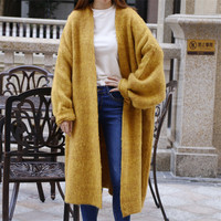 Maxi Cardigan Women Thick Coarse Oversize Sweaters Coat Japan Cozy Knitted Cardigan Batwing Sleeves Long Sweaters Female Jumper