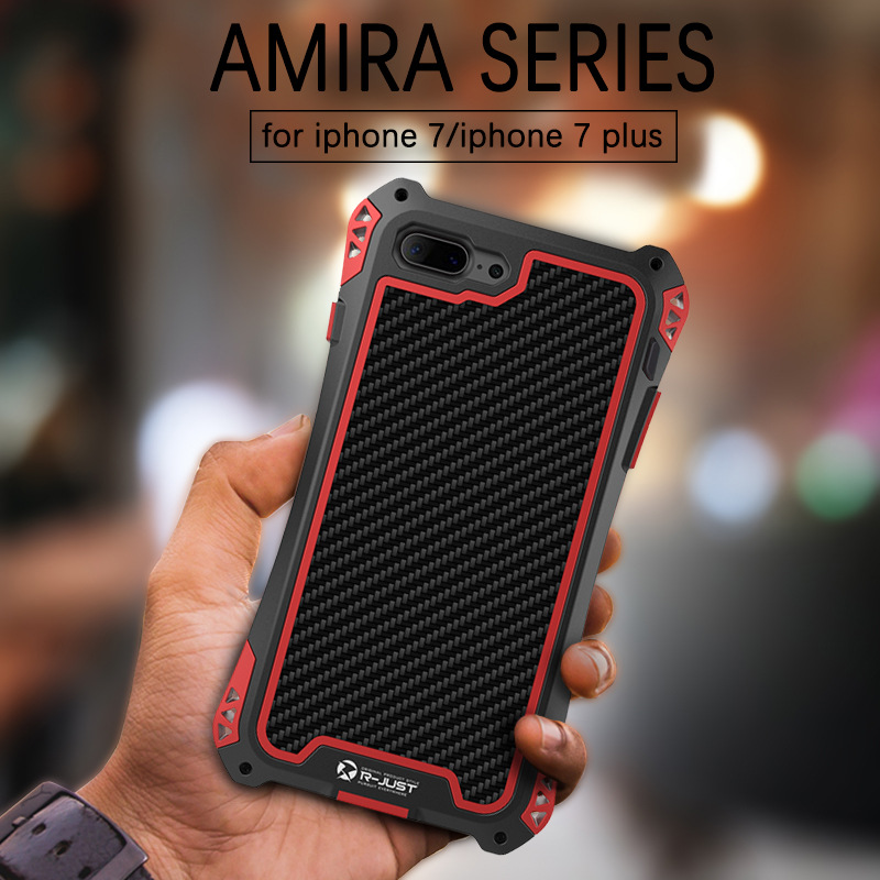 AMIRA KING Waterproof Shockproof Metal Aluminum Case Cover for iphone 7 plus Carbon Fiber Case for