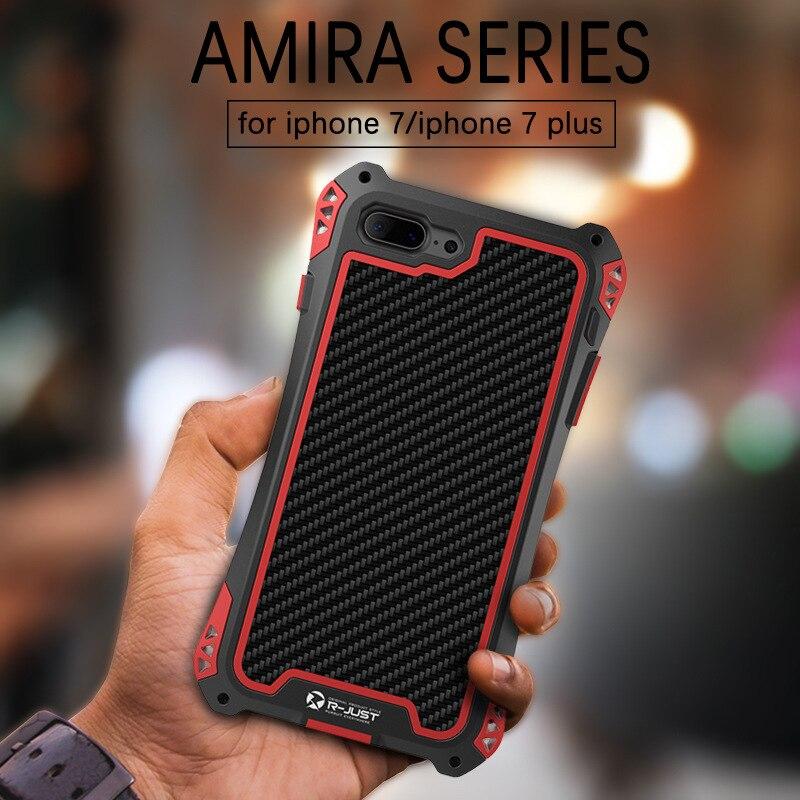 imágenes para AMIRA REY Impermeable A Prueba de Golpes Cubierta de la Caja de Aluminio del Metal para el iphone 7 más de Fibra de Carbono para el iphone 7 + Gorila Toughene