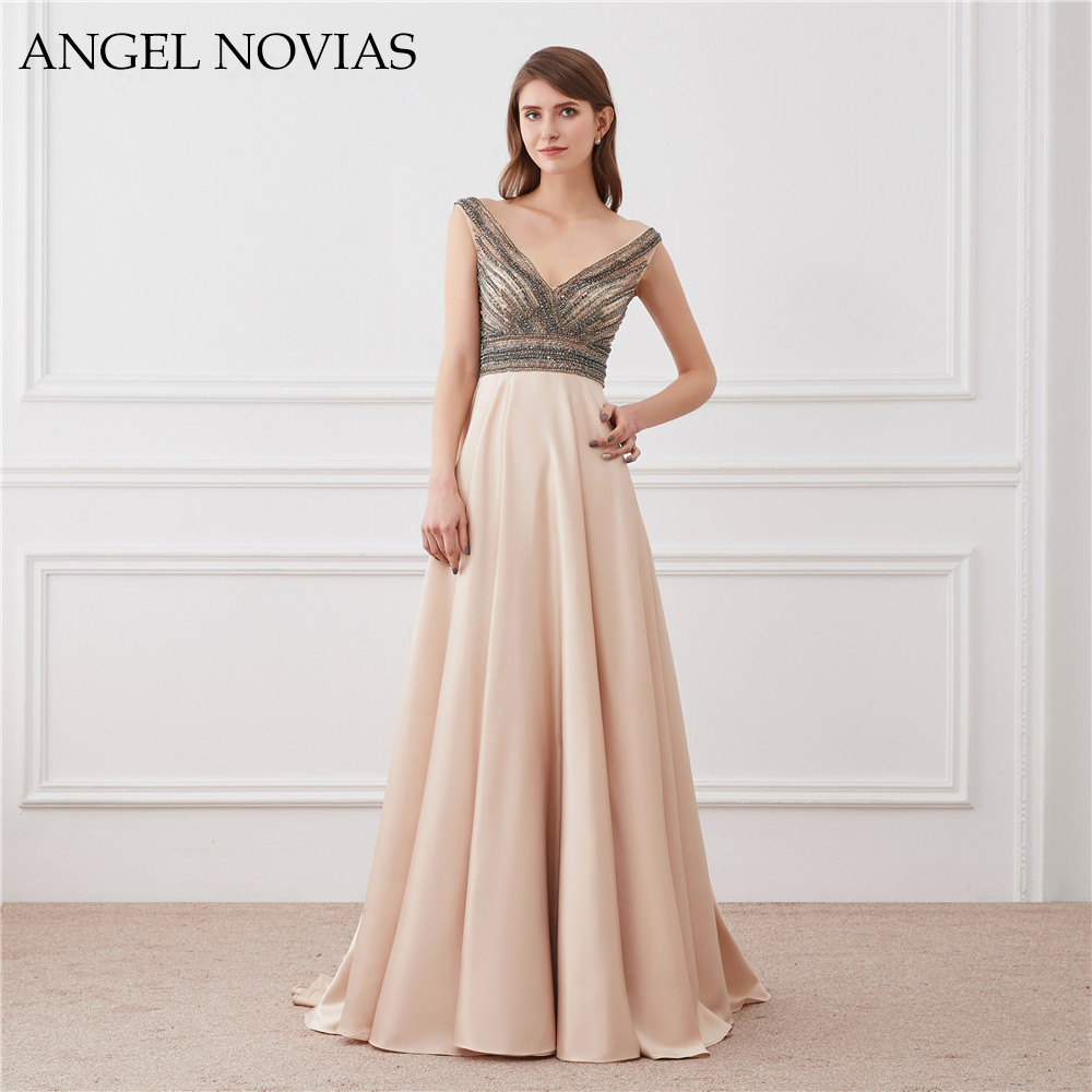 ANGEL NOVIAS Long Sexy Champagne Backless   Evening     Dress   2018 Bling Bling Crystal Beading Prom Gowns