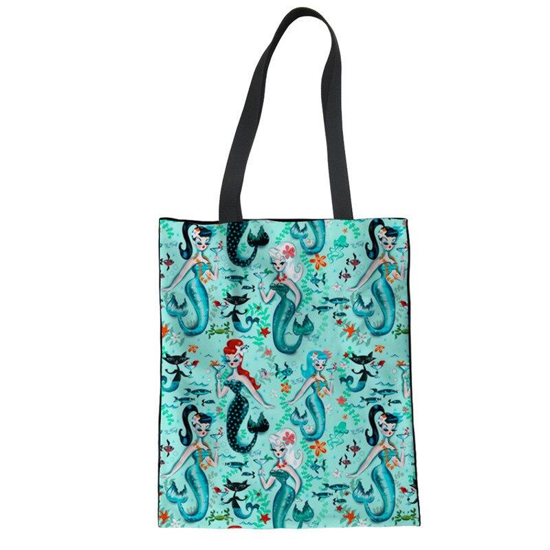 3D Mysterious Mermaid Travel Folding Shopping Bag Eco Linen Reusable For Handbag Shoulder Bags Tote Bag Home