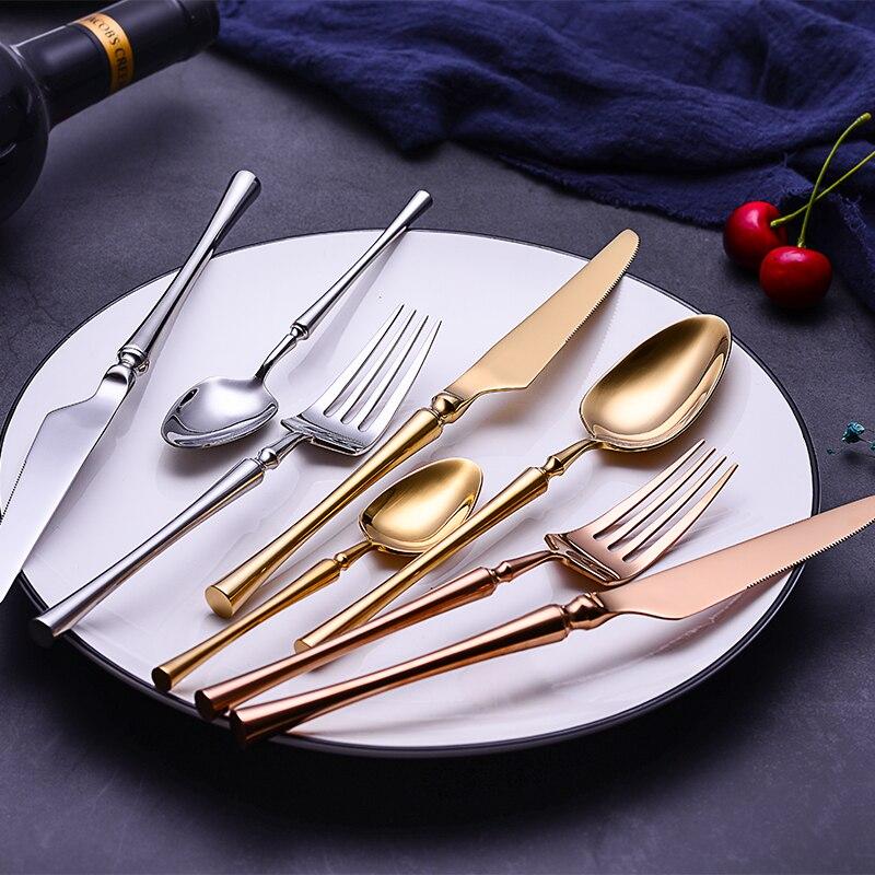 24pcs/lot Korean Food Portable Cutlery 304 Stainless Steel Table Knife S poon Fork Dinner Set Dinnerware Gold Tableware Sets-in Dinnerware Sets from Home & Garden    3