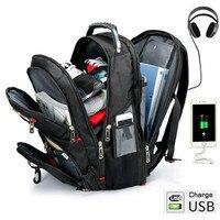 Swiss Multifunctional 15 Inch Laptop Backpack Men USB Charging Waterproof Travel Women Rucksack Male Schoolbag Hiking Travel bag