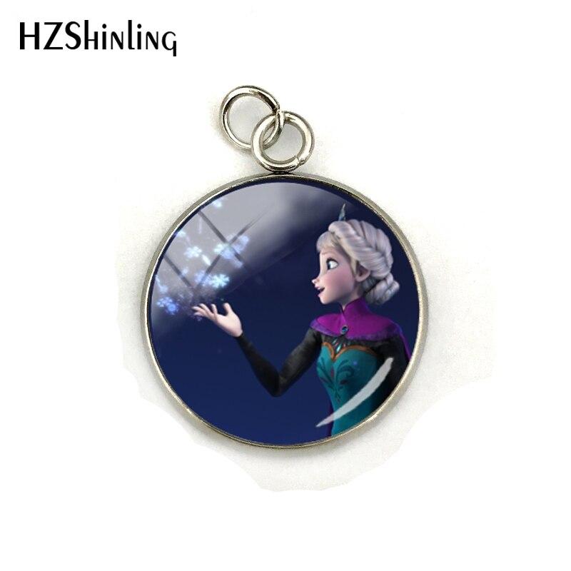 Новая мода Снежная королева принцесса Эльза Анна стеклянный кабошон подвески ювелирные изделия ручной работы нержавеющая сталь покрытием кулон подарки - Окраска металла: 7