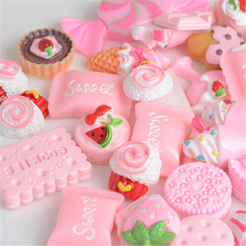 100PC Girls Pink Resin Accessories Simulation Food Bag Creative Diy Craft Toy Cream Mobile Phone Shell Material Jewelry Handmade