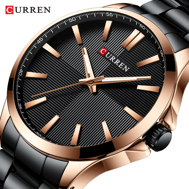 CURREN Men's Stainless Steel Luxury Business Hour Waterproof Quartz Watches