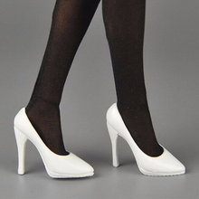 1/6 scale female woman girl action figure shoes model high heeled white/black color for 12 young lady accessory