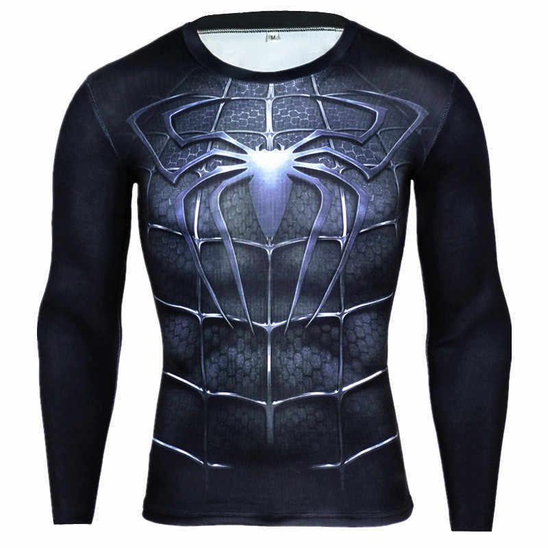 9d4d48470 4XL Rashgard Sport Shirts Men Running T Shirt Spiderman Superhero  Compression Shirt Men Fitness Bodybuilding Gym