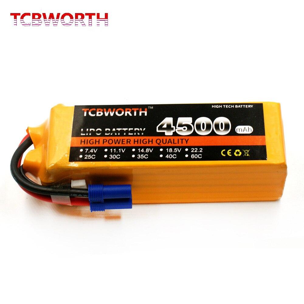 TCBWORTH 4S 14.8V 4500mah 60C MAX 120C RC LiPo Battery  for RC Airplane  Li-ion battery mos rc airplane lipo battery 3s 11 1v 5200mah 40c for quadrotor rc boat rc car