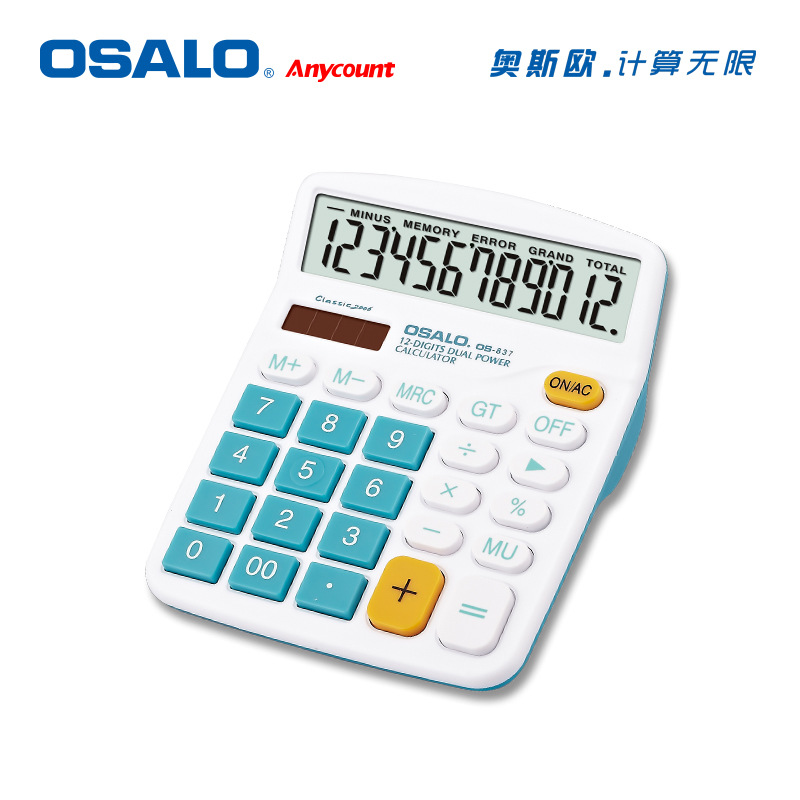 OSALO Desktop Calculator ABC12 Digit Display Solar Energy Dual Power Supply Colour OS-837VC
