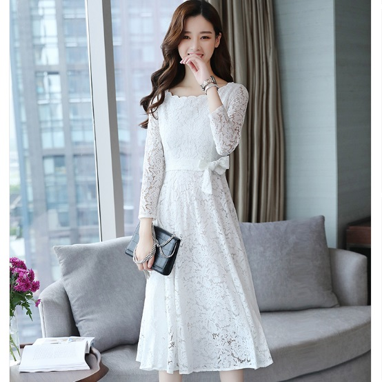 d87c56f999016 US $41.3 |Clobee Vestido De Renda 2017 Autumn Hollow Out Women Lace Dress  Vestido Longo De Festa Elegant Wedding Party Dress XL570-in Dresses from ...