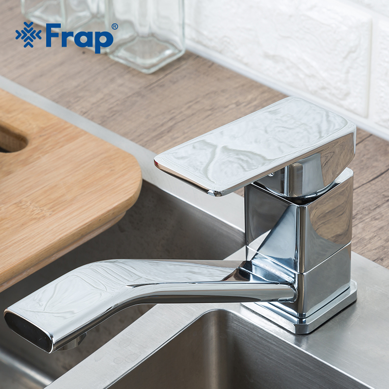 FRAP Newly Home Kitchen Sink Faucet Cold and Hot Water Tap Mixer Single Handle Square Tap