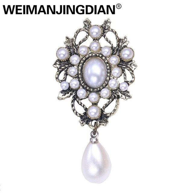 WEIMANJINGDIAN Trasporto libero di Stile Dell'annata Simulato Perla orecchini di Goccia Spille per Le Donne in Argento Antico di Colore