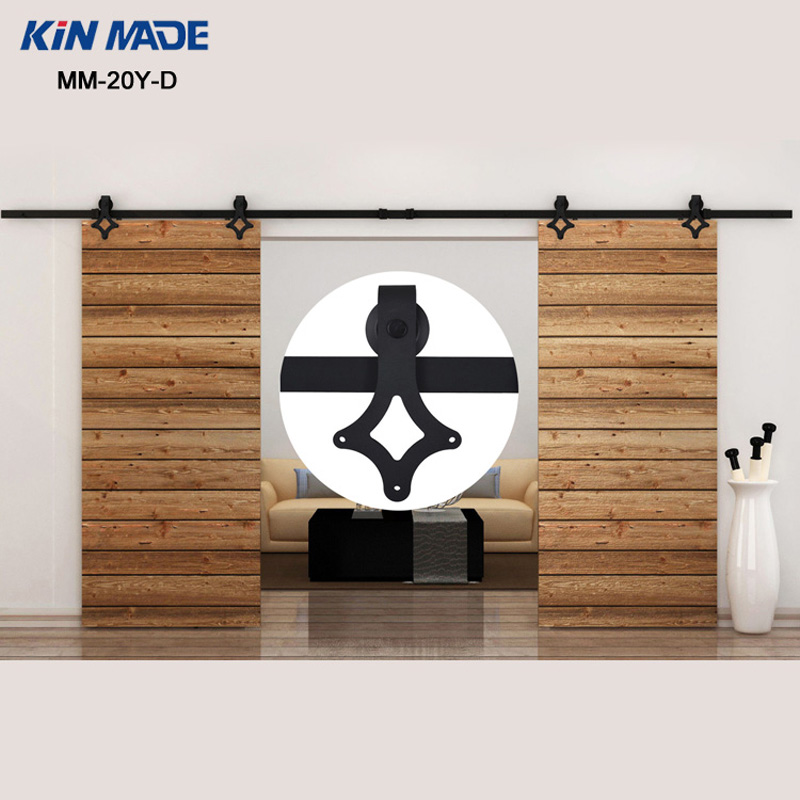 KIN MADE MM-20Y-D 12FT Country Style  Bi-parting Double Sliding Barn Door Wooden Sliding Barn Door Hardware Full Kit