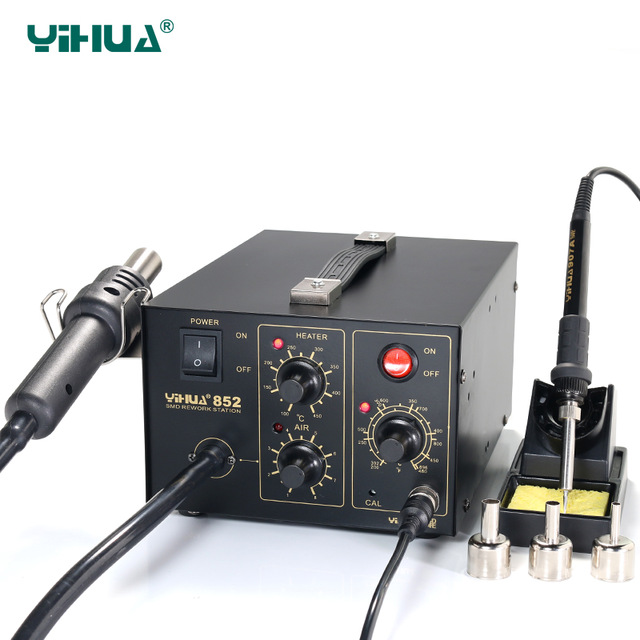 YIHUA 852 Diaphragm Pump Soldering Station 220V Hot Air With Soldering Iron Station Repair Tool 220v 50w yihua 937 soldering station with extra free hakko a1321 ceramic heater