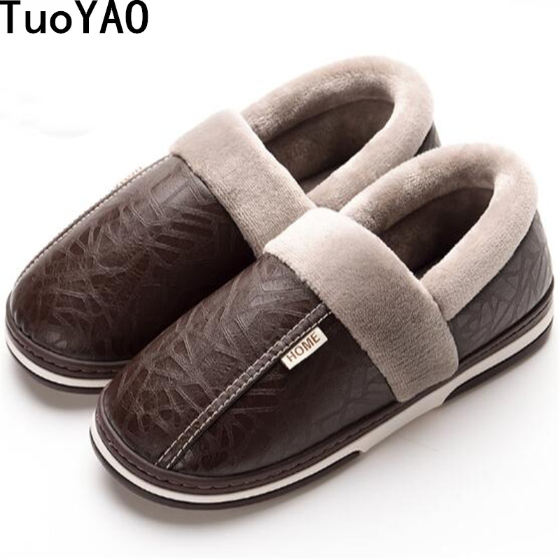New Winter Waterproof Men Shoes Plush Men Slippers Warm Fur Thicken Cotton-Padded Home Slipper Indoor Flat Shoes Big Size 35-50