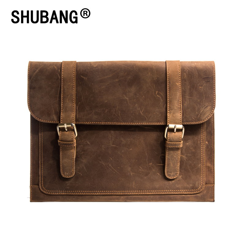Crazy Horse Leather Briefcase For Lawyers Vintage Man Genuine Leather Messenger Bag Men Business Bags Male Handbag 818-277 crazy horse genuine leather men bags vintage loptop business men s leather briefcase man bags men s messenger bag 2016 new 7205