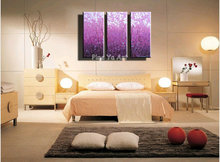 3 piece Fine purple abstract modern picture Knife paint wall acylic hand oil painting on canvas for living room home decoration