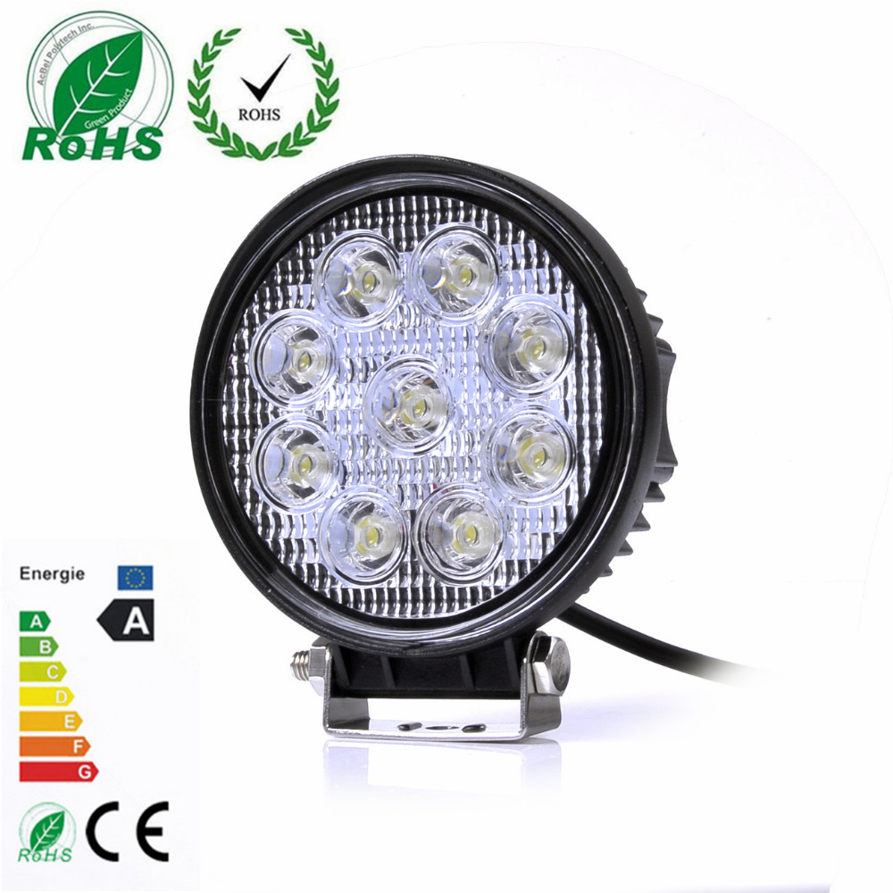 1Pcs 27W Round LED Spot Flood Light for Motorcycle Tractor Boat Off Road Truck SUV Working Lamp 12V/24V