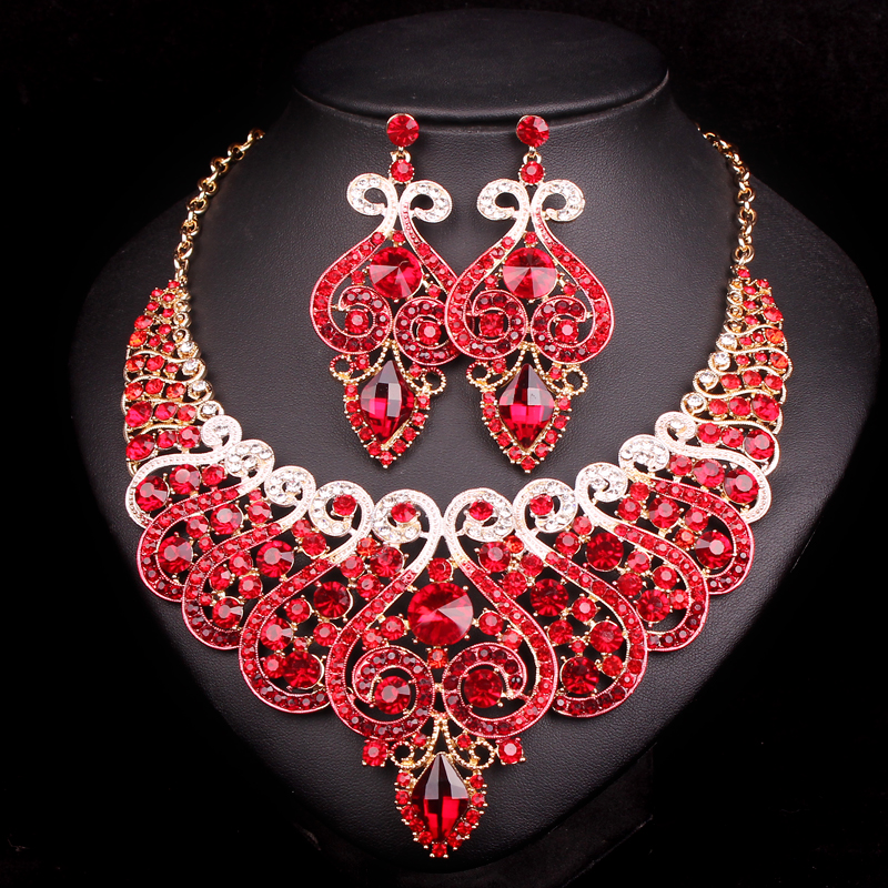 Fashion Red Indian Bridal Jewelry Sets Statement Wedding