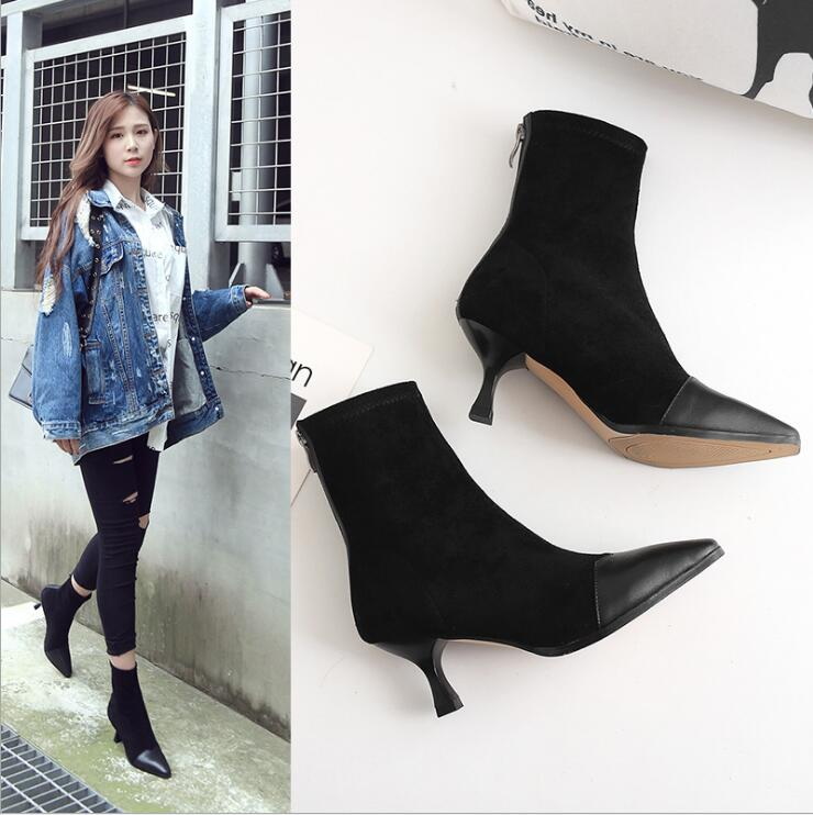 Leather Thin Heels Office Shoes New Arrival Women Pumps Fashion High Heels Shoes Women's Pointed Toe Sexy Shoes Shallow 8