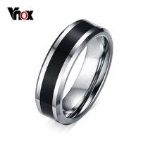 Vnox hombres tungsten anillo de bodas band negro carbon fiber inlay 6mm carburo tungsten joyas de moda tamaño 7 a 12