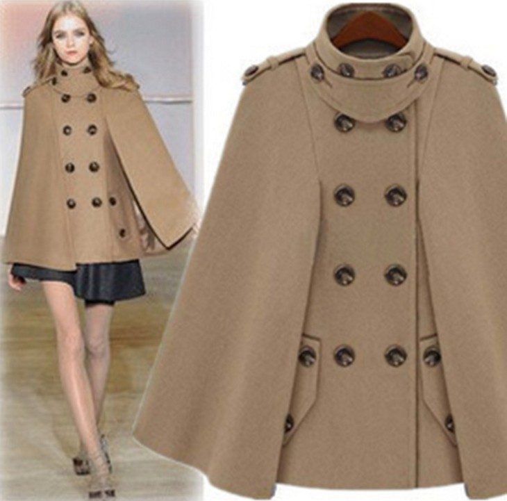 633623663 US $43.83 14% OFF|2019 Fashion Women Wool Coat Stand Collar Autumn Winter  Jacket Plus Size Woolen Cape Coat Winter Poncho Double Breasted Jacket-in  ...