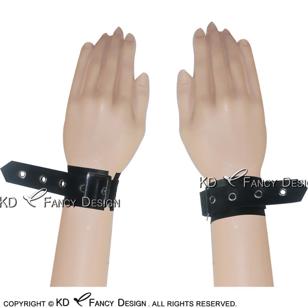 Black Sexy Latex Braceltet Wrist Cuffs With Buckles Rubber Enthusiasts SEX-0042
