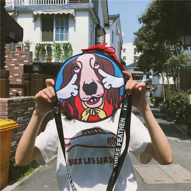 Women's Round Dog Patterned Shoulder Bag