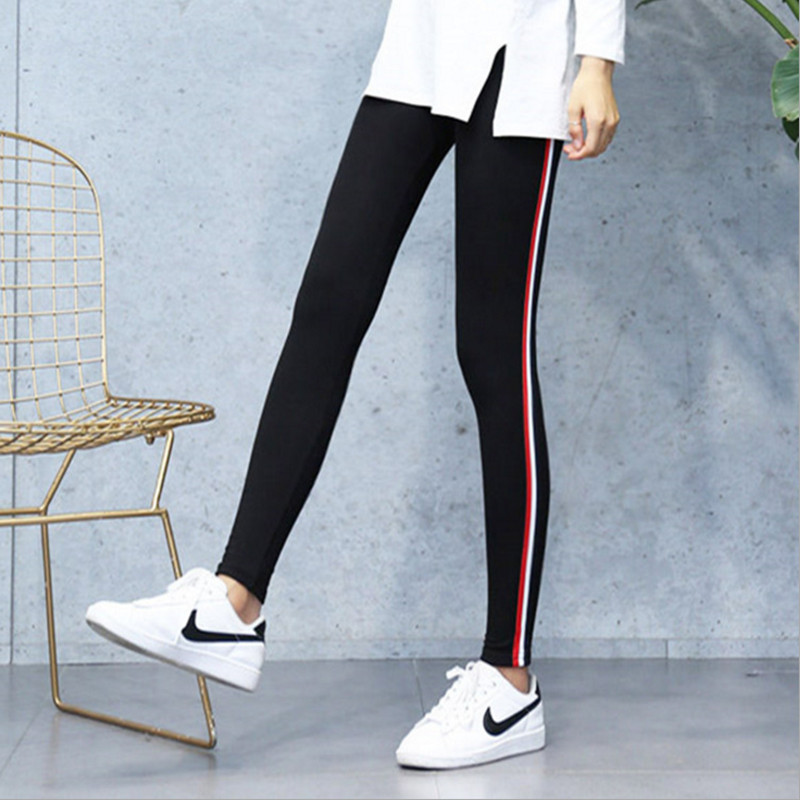 Image 5 - Plus Size 5XL Quality Cotton Leggings Side Stripes Women Casual High stretch Leggings Pants High Waist Fitness Leggings Female-in Leggings from Women's Clothing