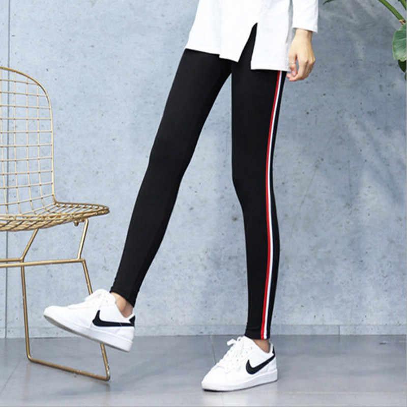 Plus Ukuran 5XL Kualitas Kapas Legging Sisi Stripes Wanita Kasual Tinggi Stretch Legging Celana Pinggang Tinggi Kebugaran Legging Wanita