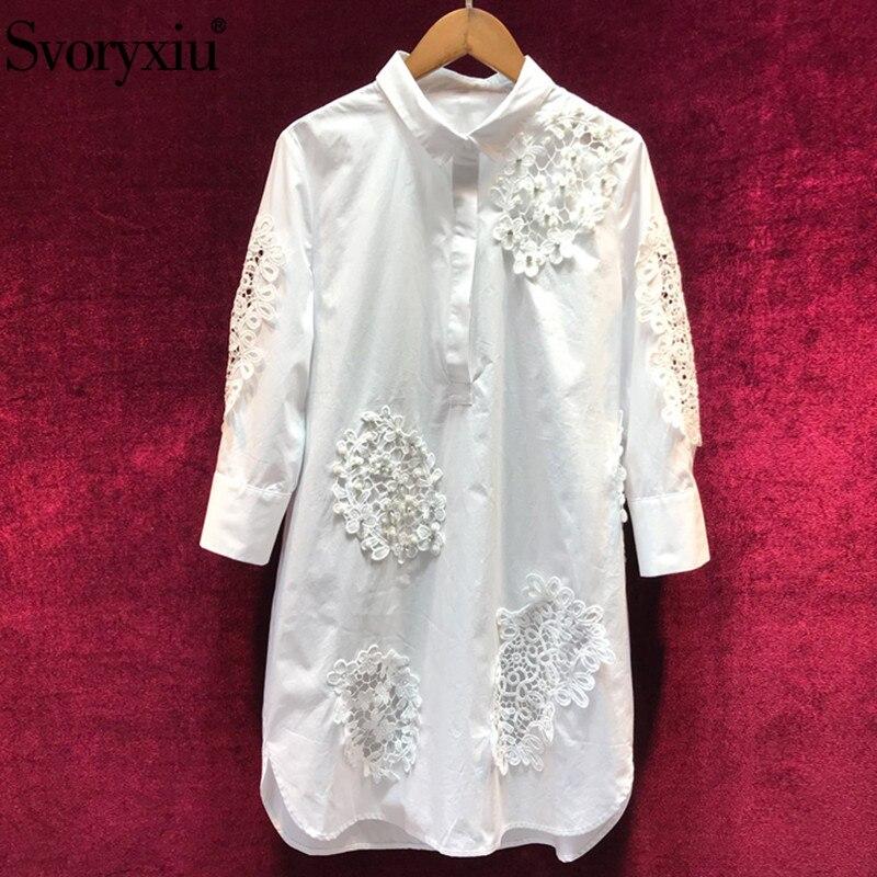 Svoryxiu projektant mody lato bawełna biały elegancka sukienka damska Hollow Out haft na co dzień luźne sukienki vestidos w Suknie od Odzież damska na  Grupa 1